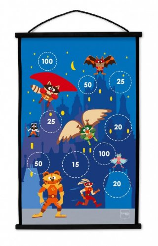 Darts kezdőkészlet Szuperhős, ügyességi játék 38x60 cm (Scratch, 3-8 év)