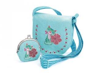 Djeco hímzett cicás táska pénztárcával (6679)