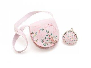Djeco hímzett virágos táska pénztárcával - 6565