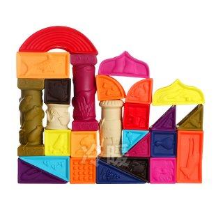 Dombornyomott puha bébi építőkockák (B.Toys, 26 db-os kreatív építőjáték, 6 hó-3 év)