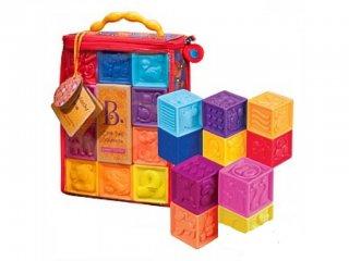 Dombornyomott puha bébi építőkockák (B.Toys, kreatív építőkocka, 0-3 év)