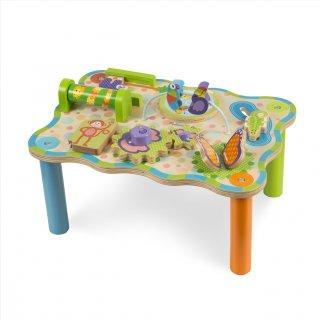 Dzsungel foglalkoztató asztal, fa készségfejlesztő bébijáték (MD, 1-3 év)