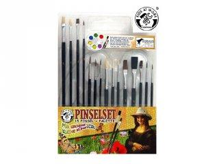 Ecsetkészlet 15 ecsettel és festőpalettával, kreatív szett (600549)