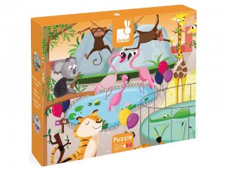 Egy nap az állatkertben (2774, Janod, 20-db-os XXL tapintós puzzle, 2-4 év)