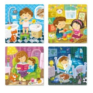 Egy napom 4 az 1-ben kirakó, 12-16-20-24 db-os puzzle (DO, 3-6 év)