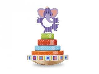 Egyensúlyozó elefánt fából (Melissa&Doug, készségfejlesztő játék, 1-3 év)