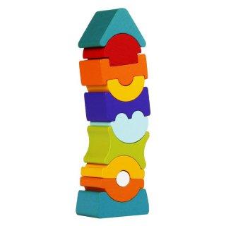 Egyensúlyozó torony, 11 db-os fa építőjáték (2-6 év)