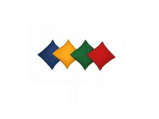 Egyensúlyzsák, babzsák négyzet alakú vegyes színekben, mozgásfejlesztő játék (1 db, 3-8 év)