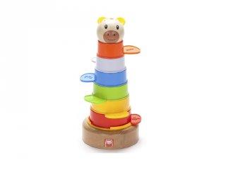 Egymásba rakható erdei állatos montessori torony, bébijáték (1-3 év)