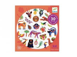 Egzotikus állatok, Djeco 30 db-os matrica készlet strasszokkal - 9268