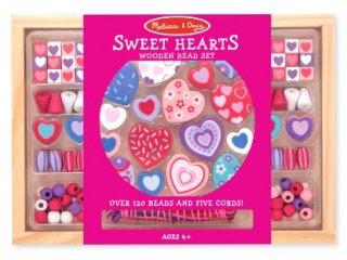 Ékszerkészítő szett, Szívecskés (4175,Melissa&Doug, Sweet hearts wooden bead set, 4-8 év)