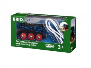 Elemes mozdony USB kábellel (Brio, 33599, vonatos fajáték, 3-10 év)