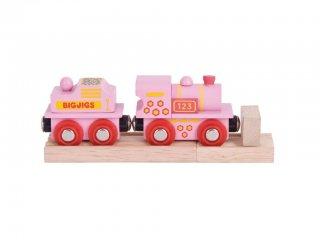 Elemes rózsaszín mozdony (Bigjigs, vonatos fajáték, 3-10 év)