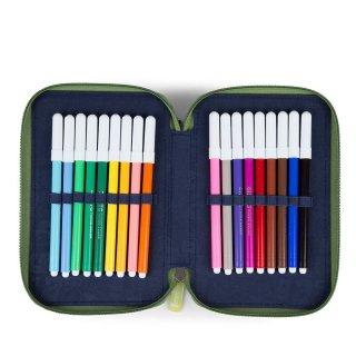 Emeletes tolltartó, Ergobag irodaszer, rózsaszín-lila mintás (6-9 év, töltetlen)