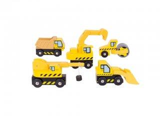 Építkezési munkagépek készlet (Bigjigs, fa szerepjáték, 3-10 év)