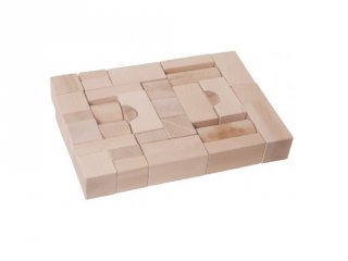 Építőkocka 35 db-os készlet fából natúr 4 cm-es (FK, 2-6 év)