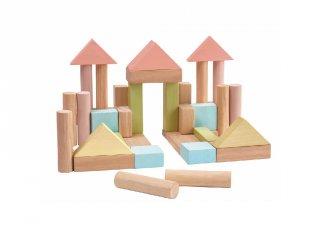 Építőkocka készlet pasztell, Plan Toys 40 db-os építőjáték (2-5 év)