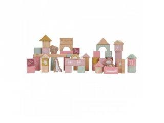 Építőkockák, 50 db-os Little Dutch fa bébijáték, pink (7018, 1-4 év)