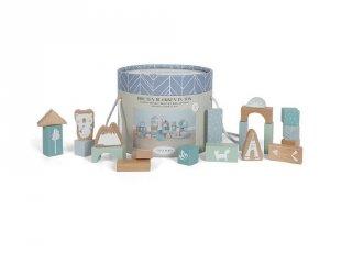 Építőkockák dobozban, 50 db-os Little Dutch fa bébijáték, kék (4413, 1-4 év)