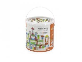 Építőkockák kerek dobozban, 80 db-os fa bébijáték (FK, 2-6 év)