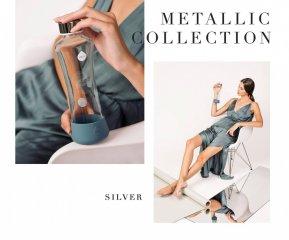 Equa üvegkulacs, Metallic Silver, 550 ml