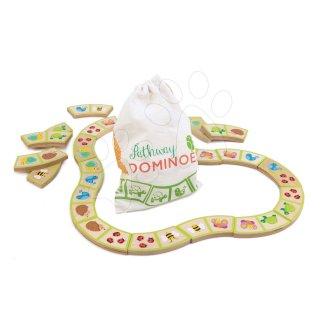 Erdei állatok fa dominó készlet textil zsákban, fa készségfejlesztő babajáték (18 hó-3 év)