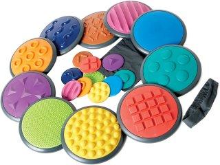 Érzékelő korongok, nagy készlet, mozgásfejlesztő játék (Gonge, tapintás, memória, mozgás, 3-99 év)