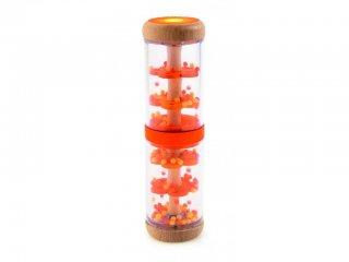Esőbot, narancs (Djeco, 6380, esőhangot adó bébijáték, fa csörgő, 1-3 év)