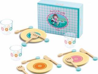 Étkészlet, Lucile & Prunelle, kék (Djeco, 6541, konyhai szerepjáték, 3-7 év)