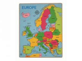 Európa térkép ÚJ 19 db-os fa puzzle