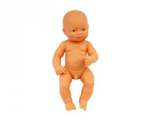 Európai fiú baba haj nélkül, 32 cm (miniland, Newborn baby doll eruopean, babajáték, 3-8 év)