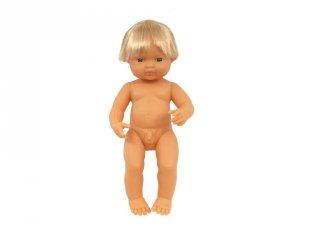 Európai fiú baba hajjal, 38 cm (miniland, Baby doll eruopean boy, babajáték, 3-8 év)