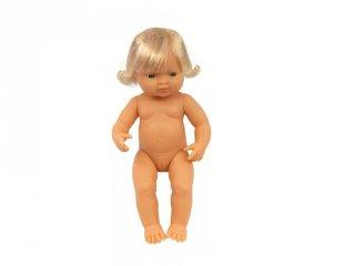 Európai lány baba hajjal, 38 cm (ML, babajáték, 3-8 év)