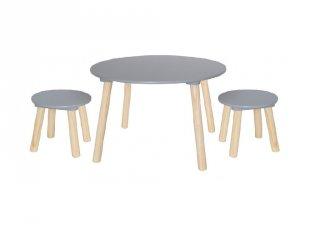 Fa asztal 2 db székkel ezüstszürke, gyerekszoba kiegészítő (Jabadabado)