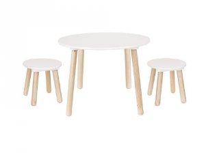 Fa asztal 2 db székkel fehér, gyerekszoba kiegészítő (Jabadabado)