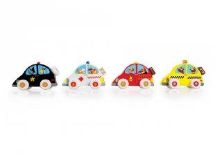 Fa autó, 4 féle: rendőr, tűzoltó, mentő, taxi (Scratch, 3-6 év)
