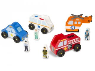 Fa autós készlet, Életmentő járművek figurákkal (Melissa&Doug, 9285, autós fajáték, 2-5 év)