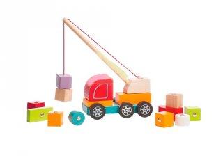 Fa darus autó mágneses rakománnyal, készségfejlesztő játék (2-5 év)