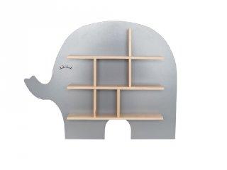 Fa elefánt formájú polc ezüstszürke, gyerekszoba kiegészítő (Jabadabado)