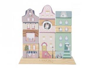Fa építőjáték készlet Kisváros, Little Dutch készségfejlesztő bébijáték, rózsaszín (4429, 1-4 év)