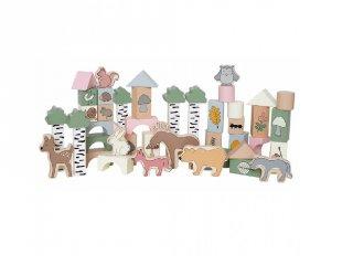 Fa építőkocka készlet Az erdő állatai, 50 db-os építőjáték (Jabadabado, 2-6 év)