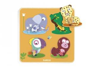Fa formaillesztő, Mamidzsungel (Djeco, 1054, készségfejlesztő bébijáték, 1-2 év)