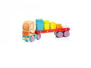 Fa kamion kockákkal 32 cm, fa készségfejlesztő játék (2-5 év)