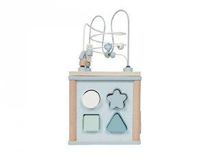 Fa készségfejlesztő kocka, Little Dutch bébijáték, kék (4428, 18 hó-3 év)