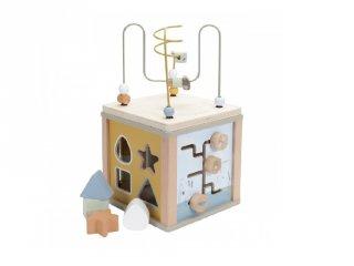 Fa készségfejlesztő kocka, Little Dutch bébijáték, olivazöld (7030, 18 hó-3 év)