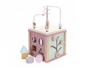 Fa készségfejlesztő kocka, Little Dutch bébijáték, pink (7028, 18 hó-3 év)