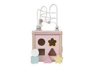 Fa készségfejlesztő kocka, Little Dutch bébijáték, rózsaszín (4427, 18 hó-3 év)