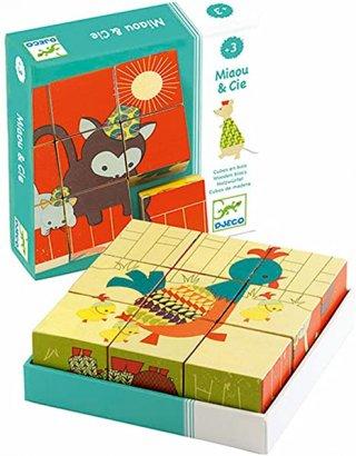 Fa kocka kirakó Cicák, Djeco 6 féle, 9 db-os puzzle - 1952 (2-5 év)