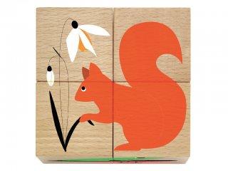 Fa kocka kirakó, Erdei állatok (Djeco, 1902, 6 féle, 4 darabos puzzle, 1-5 év)