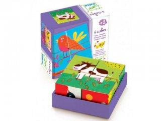 Fa kocka kirakó, Háziállatok (Djeco, 1900, 6 féle, 4 db-os puzzle, 1-5 év)
